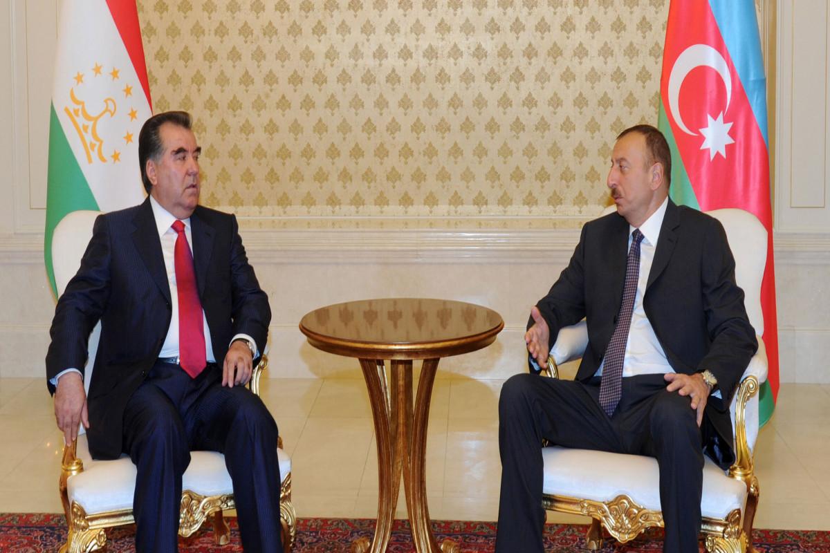 Emomali Rahmon informs Azerbaijani President of situation in the provinces of Afghanistan bordering Tajikistan