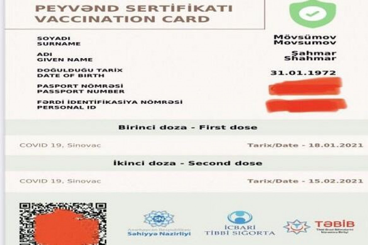 Vaccination certificate will be indefinite termless in Azerbaijan