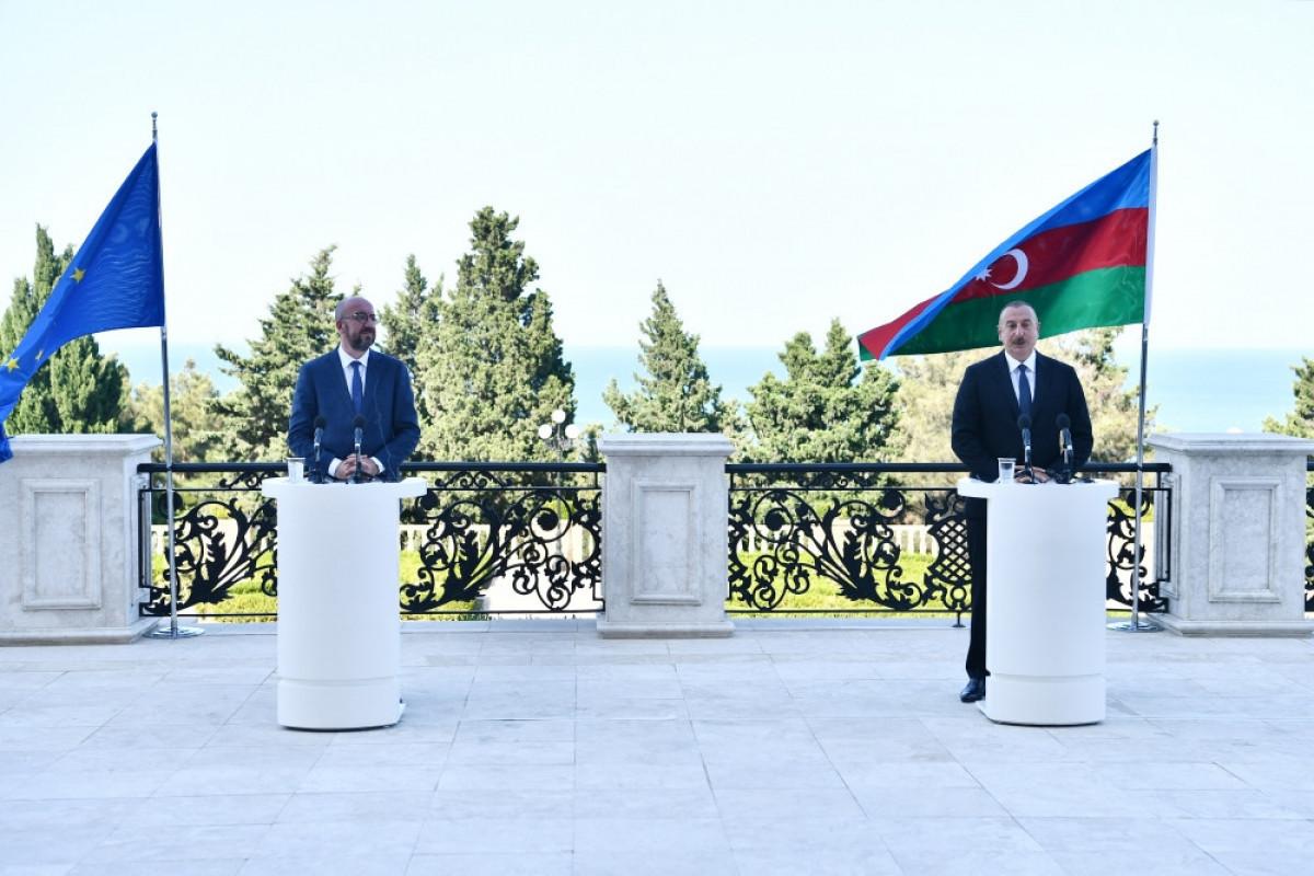 Президент Ильхам Алиев и президент Совета ЕС Шарль Мишель провели совместную пресс-конференцию – ВИДЕО -ОБНОВЛЕНО