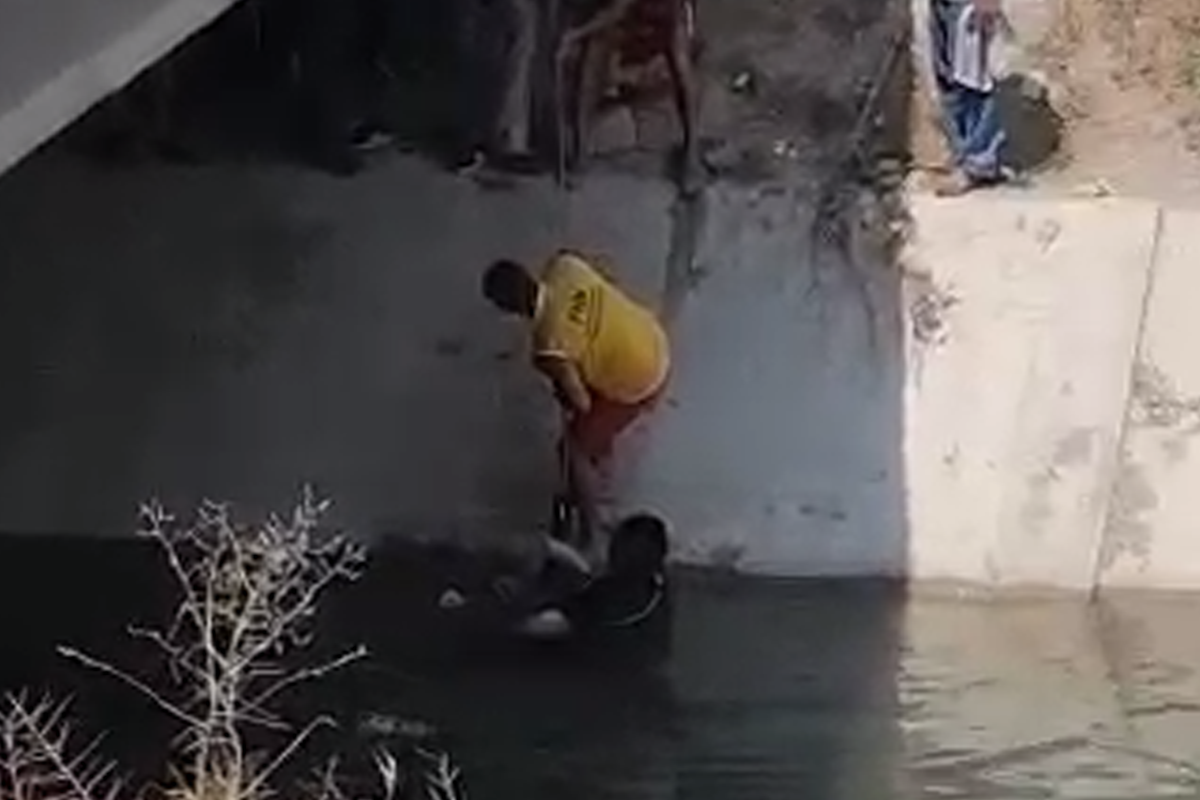 """Samur-Abşeron su kanalında bir nəfər batıb - <span class=""""red_color"""">VİDEO"""