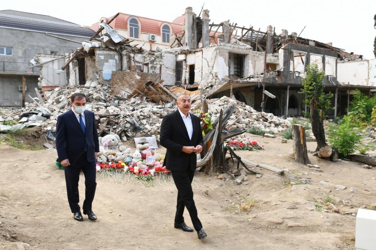 President Ilham Aliyev viewed crime scenes caused by Armenia