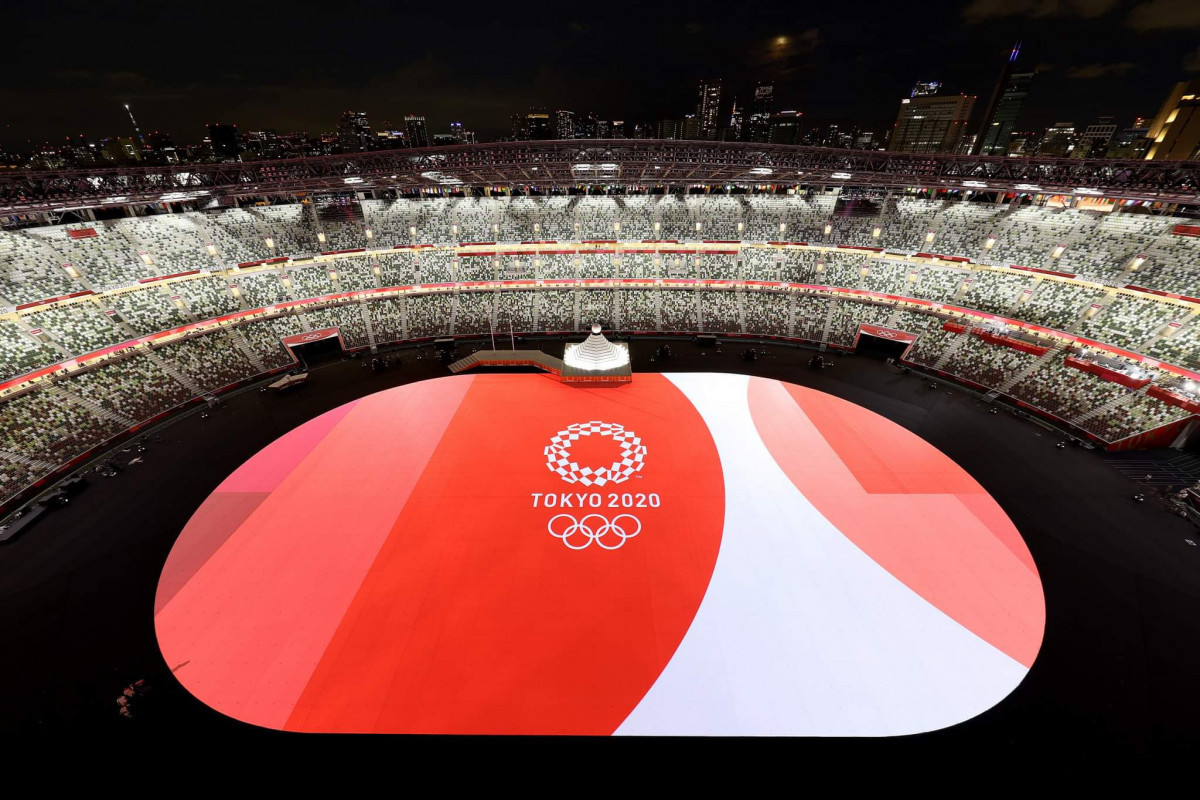 Azerbaijani National team marches in Parade of Nations at Tokyo Olympics opening ceremony