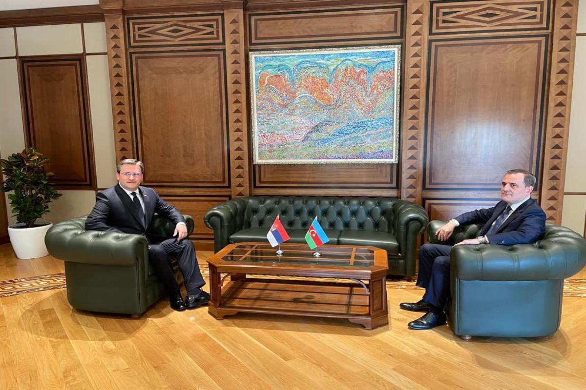 Проходит встреча Джейхуна Байрамова с министром иностранных дел Сербии