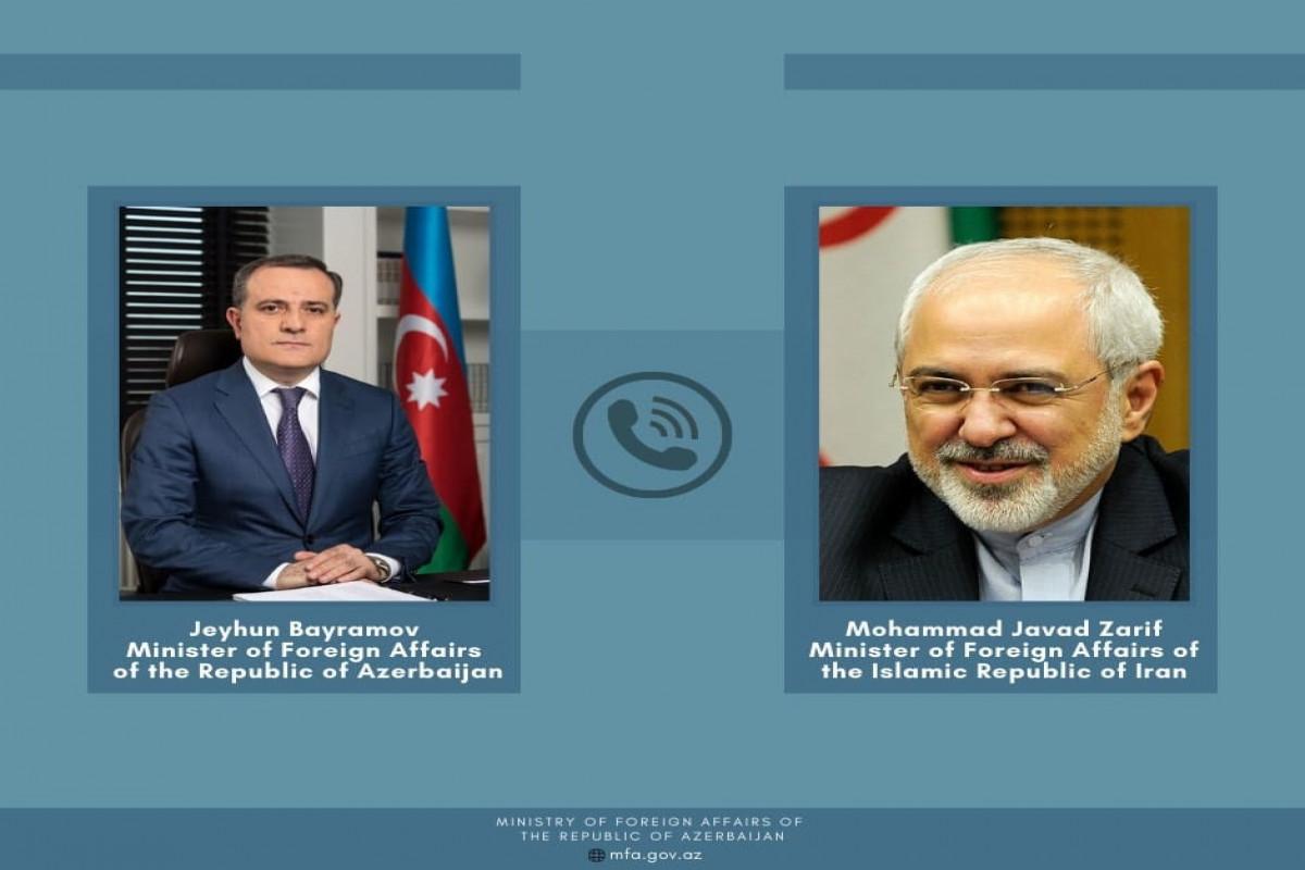 Ceyhun Bayramovla İranın xarici işlər naziri arasında telefon danışığı olub