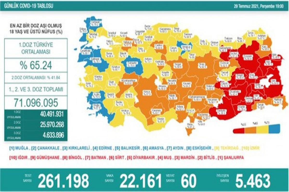 Türkiyədə son sutkada koronavirusdan 60 nəfər ölüb