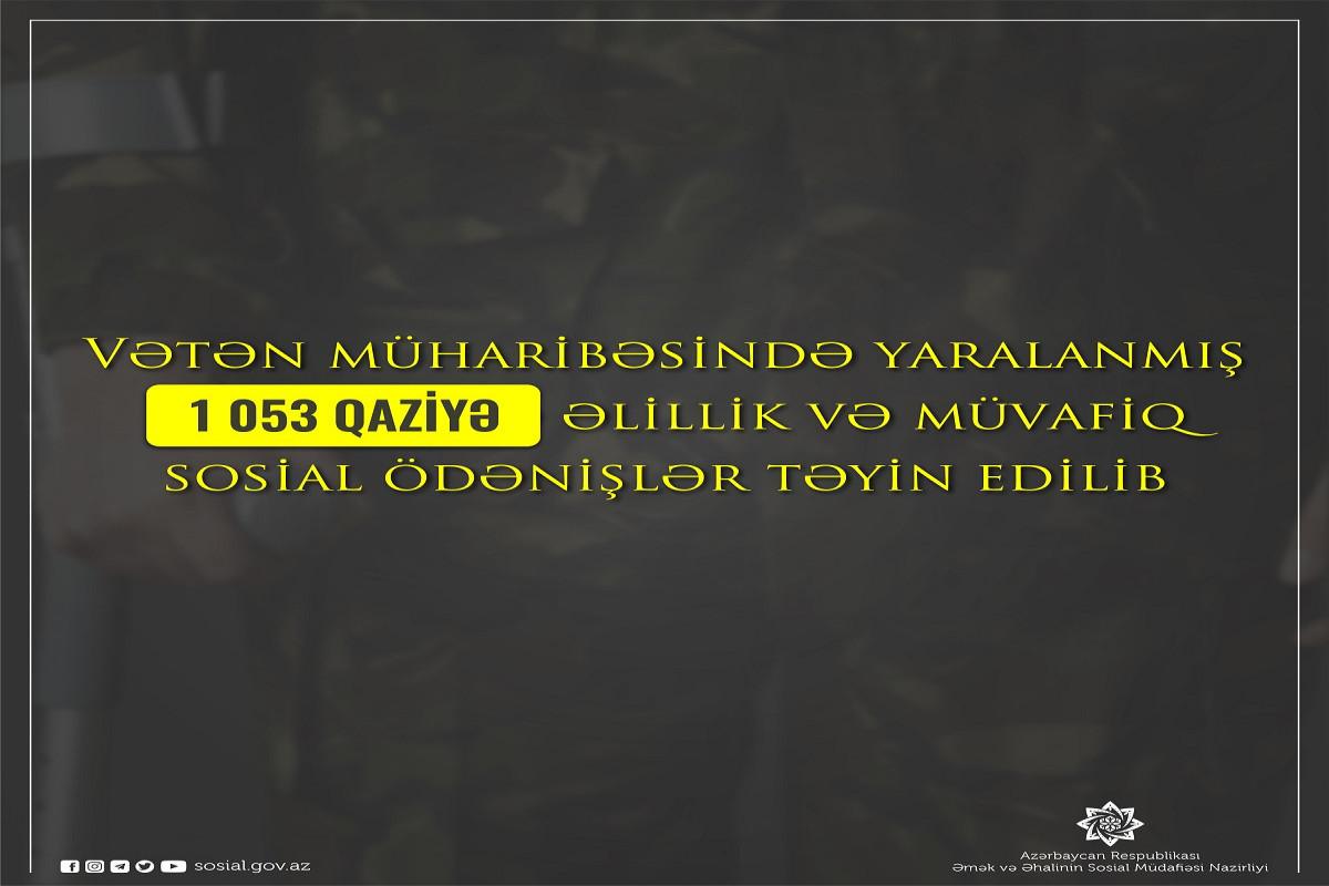 Vətən müharibəsində yaralanmış 1053 qaziyə əlillik və müvafiq sosial ödənişlər təyin edilib