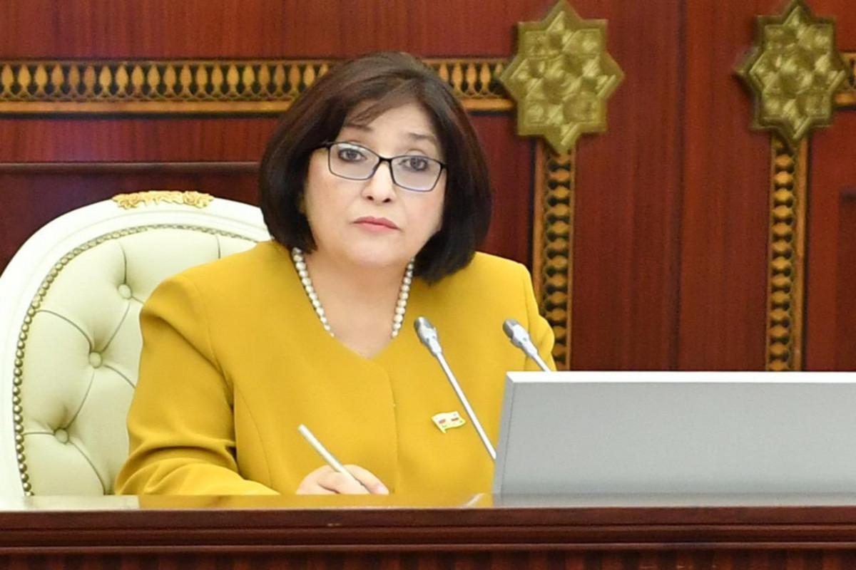 Председатель Милли Меджлиса Сагиба Гафарова направила председателю ВНСТ письмо с соболезнованиями