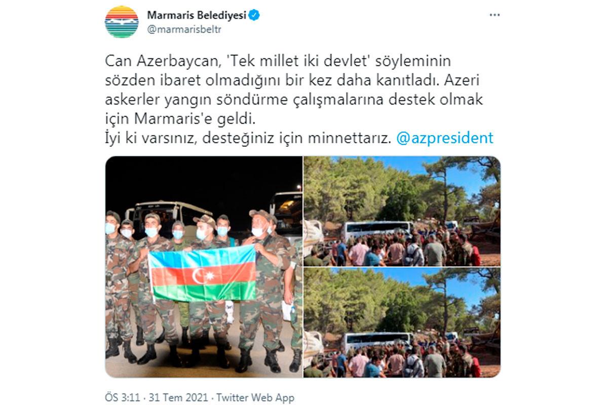 Türkiyənin Marmaris vilayətinin bələdiyyəsi Azərbaycan Prezidentinə təşəkkür edib
