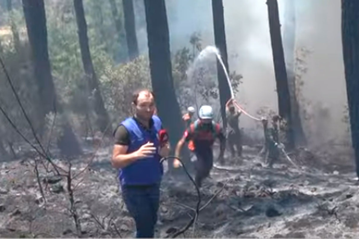 """Azerbaijani firefighters battle wildfires shoulder-to-shoulder with Turkish firefighters - <span class=""""red_color"""">APA TV AT THE SCENE-<span class=""""red_color"""">VIDEO"""