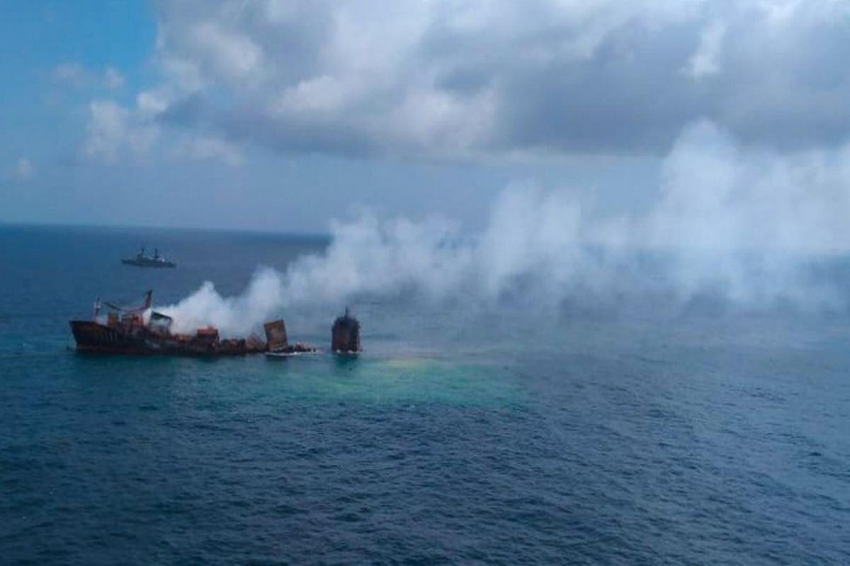 Chemical-laden ship sinking off Sri Lanka