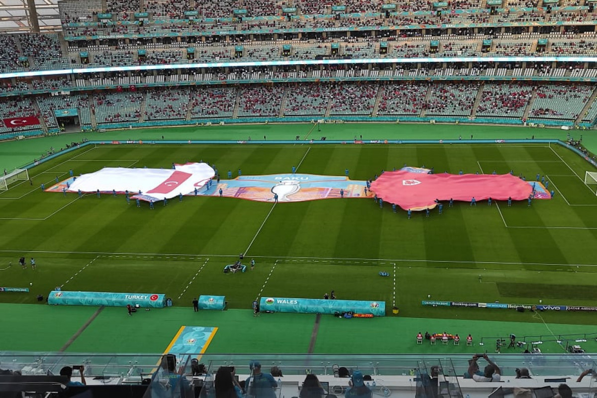 EURO-2020: Poster depicting Baku opened in center of stadium before the Turkey-Wales match