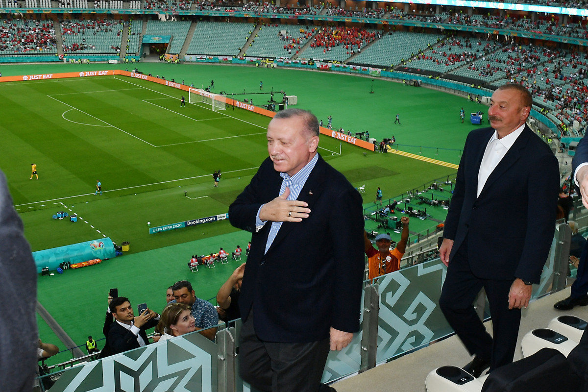 The Presidents of Azerbaijan and Turkey watched the Turkey-Wales match in Baku