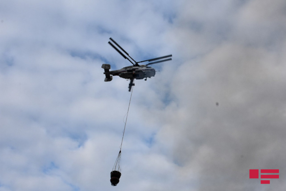 Helicopter of Azerbaijani MES involved in extinguishing fire near Nabran