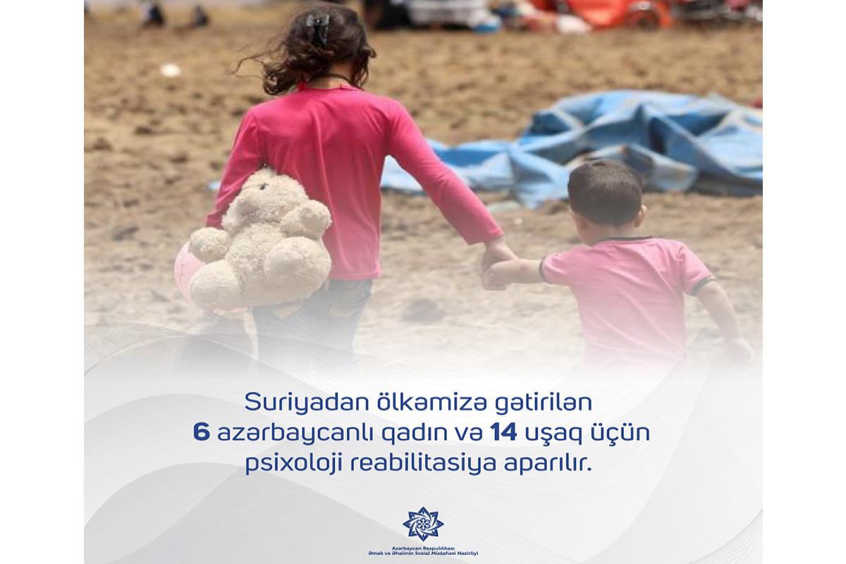 Министерство: Проводится реабилитация привезенных из Сирии 6 женщин и 14 детей