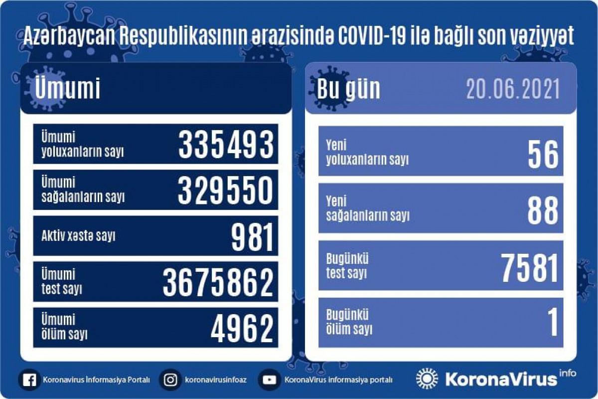В Азербайджане за сутки выявлено 56 случаев заражения COVID-19, вылечились 88 человек, умер 1 человек