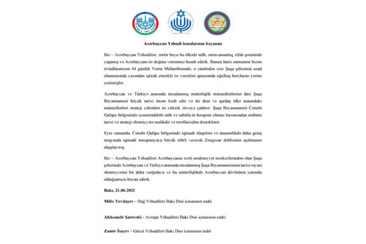 Communities operating in Azerbaijan support the Shusha Declaration