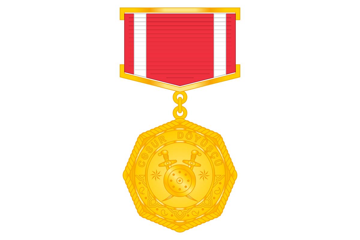 "A group of servicemen awarded medal ""Brave warrior"""