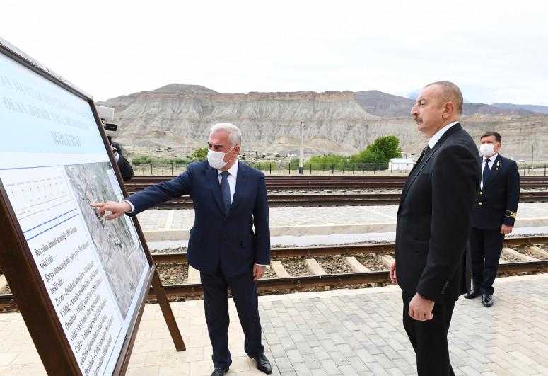 """Prezident Ordubad dəmir yolu stansiyasında görülən işlərlə tanış olub - <span class=""""red_color"""">YENİLƏNİB</span>"""
