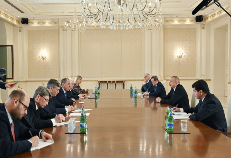 President Ilham Aliyev received delegation led by Russian foreign minister