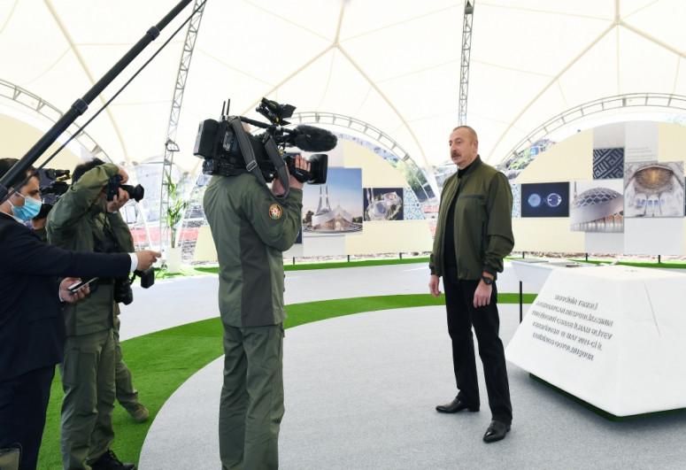 Президент Ильхам Алиев заложил фундамент новой мечети в Шуше-<span class=