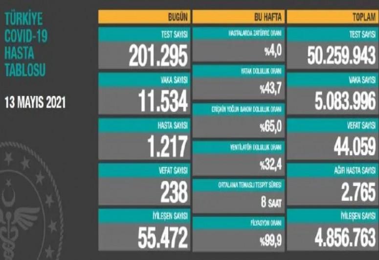 Türkiyədə bu gün COVID-19-dan 238 nəfər dünyasını dəyişib