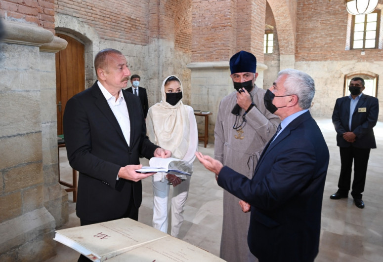 President Ilham Aliyev visited Albanian Church of Blessed Virgin Mary in Nij settlement, Gabala-<span class=