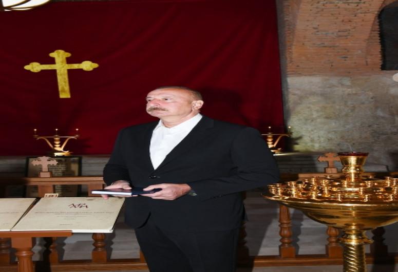 Президент Ильхам Алиев посетил Албанскую церковь Святой Девы Марии в поселке Нидж Габалинского района-<span class=