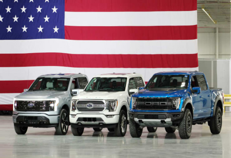 Ford reveals new electric F-150 Lightning pickup during Biden's visit to Michigan plant