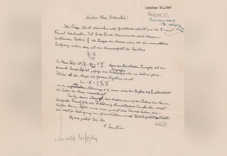 В США ушло с молотка рукописное письмо Эйнштейна с формулой E=mc2