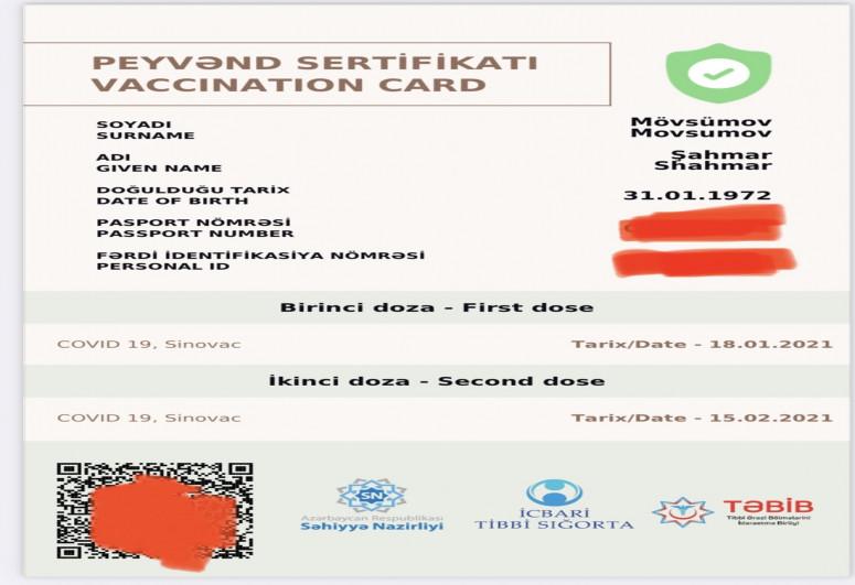"""Şahmar Mövsümov COVİD pasportunun fotosunu paylaşıb - <span class=""""red_color"""">FOTO"""