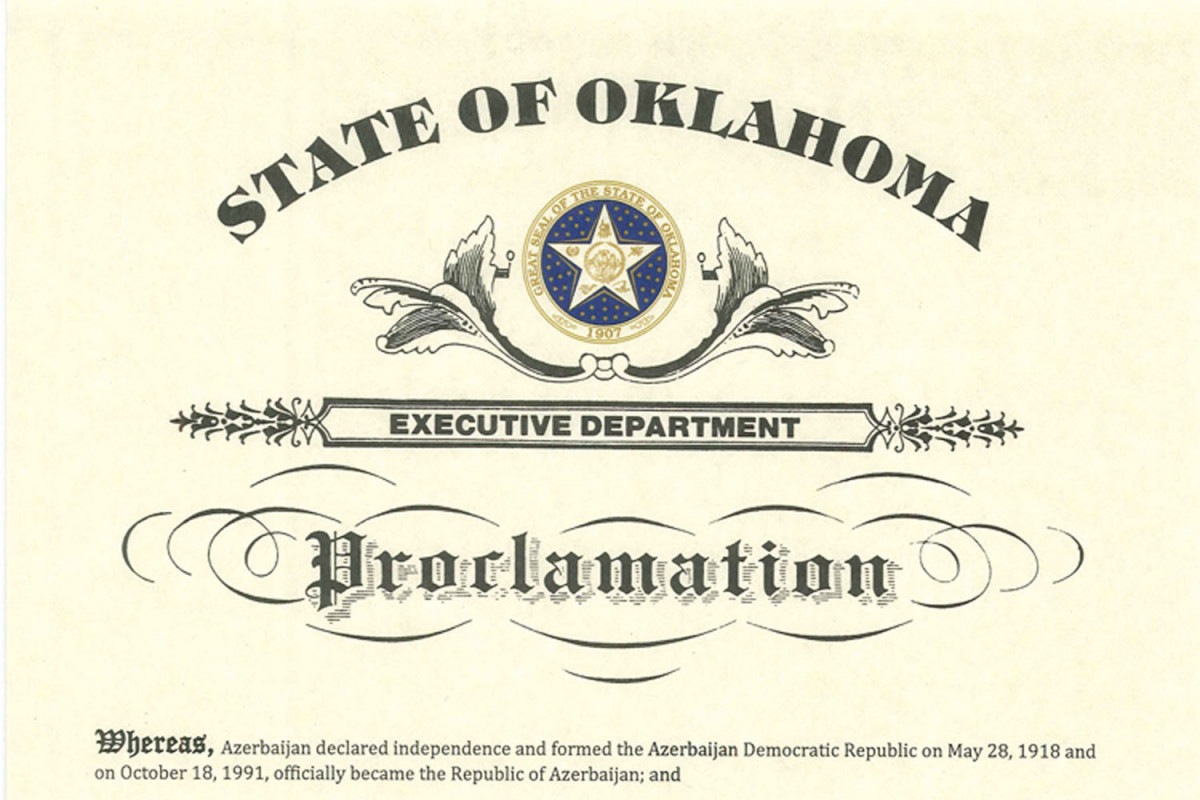 Governor of Oklahoma proclaimed May 28, as Azerbaijan Republic Day in the State of Oklahoma