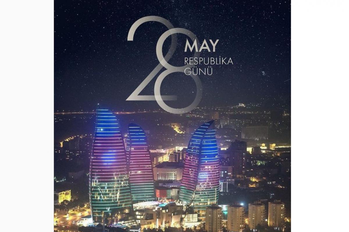 Первый вице-президент Мехрибан Алиева поделилась публикацией в связи с 28 Мая - Днем Республики