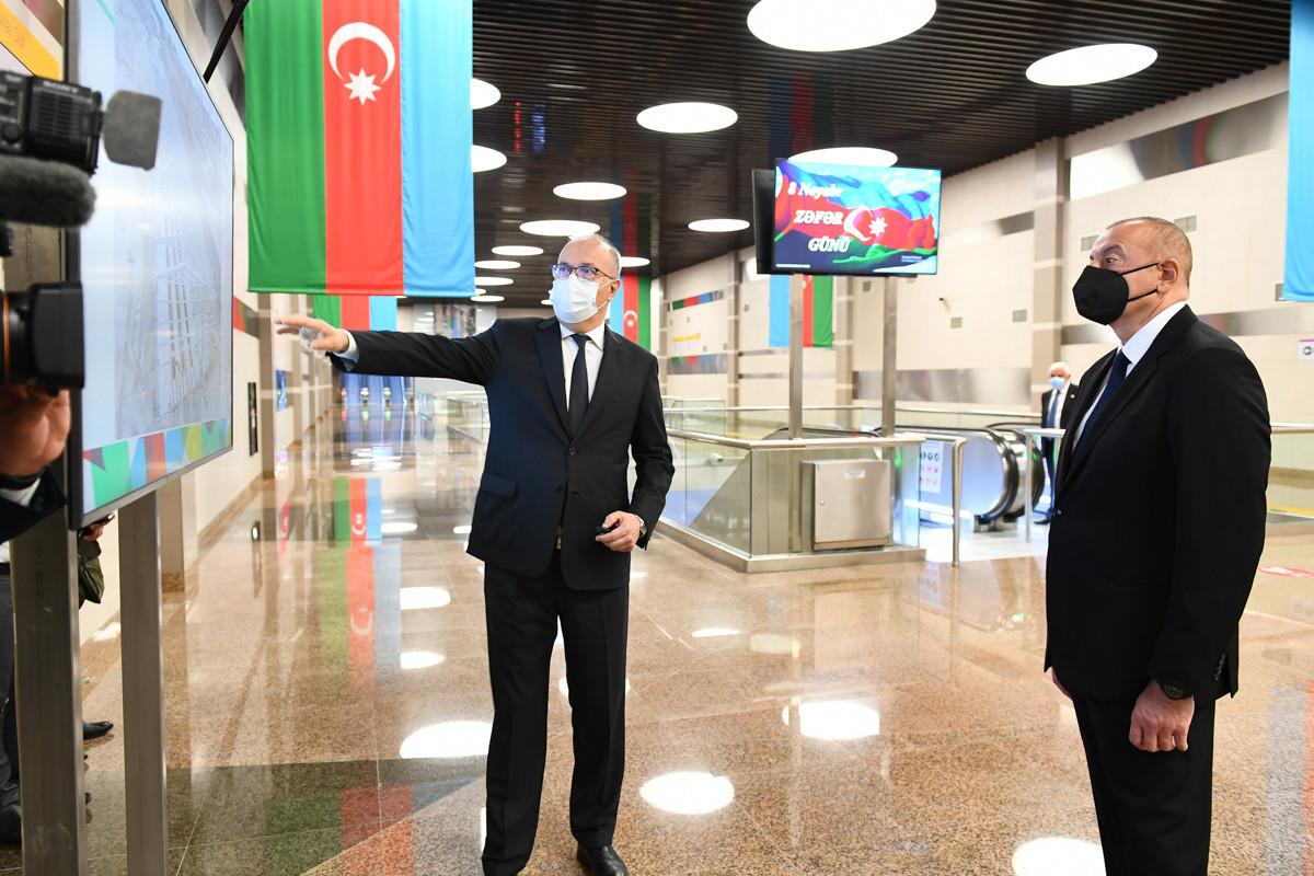 Станция «8 ноября» Бакметрополитена сдана в эксплуатацию, президент ознакомился с условиями, созданными на станции