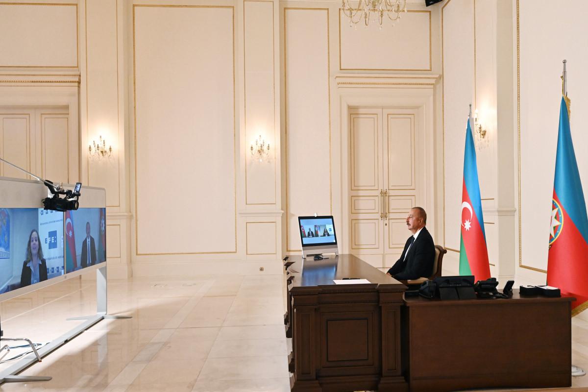 Prezident İlham Əliyev  İspaniyanın EFE informasiya agentliyinə müsahibə verib - VİDEO