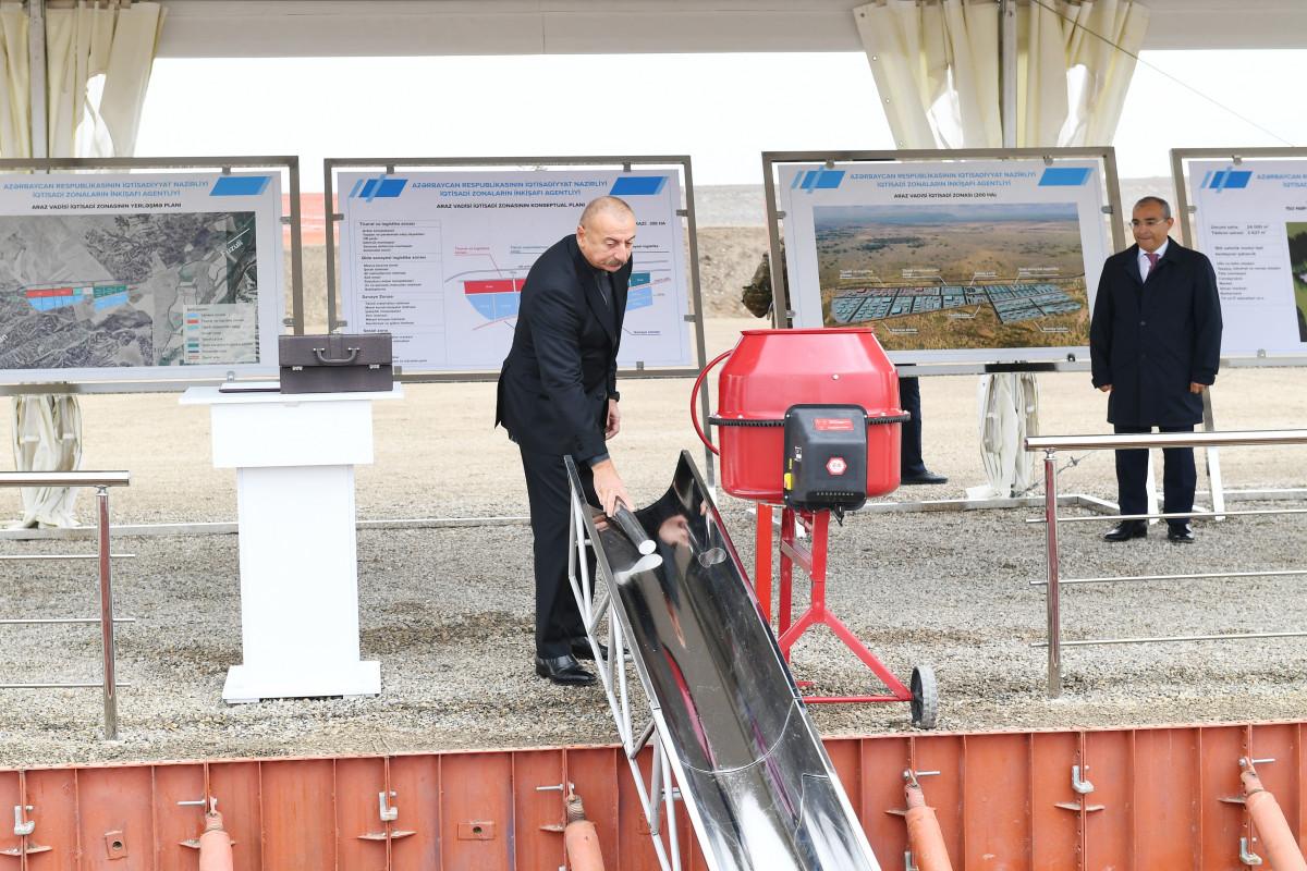 """Prezident İlham Əliyev """"Araz Vadisi İqtisadi Zonası"""" Sənaye Parkının təməlini qoyub"""