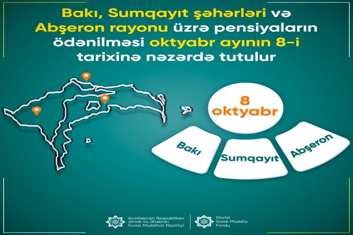Oktyabrın 8-də Bakı, Sumqayıt və Abşeronda pensiyalar ödəniləcək
