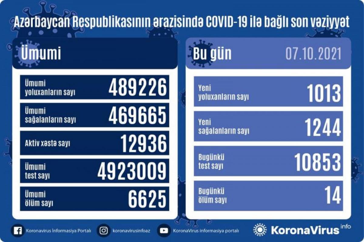 Azərbaycanda daha 1244 nəfər COVID-19-dan sağalıb, 1013 nəfər yoluxub