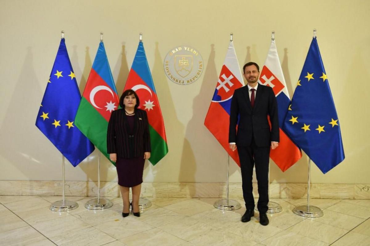 Chair of Milli Majlis Sahiba Gafarova meets Slovak PM Eduard Heger