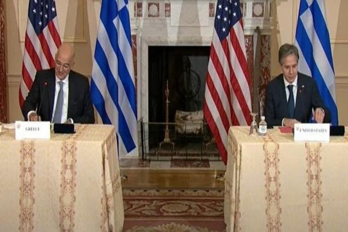 U.S. Secretary of State Antony Blinken and Greek Foreign Minister Nikos Dendias