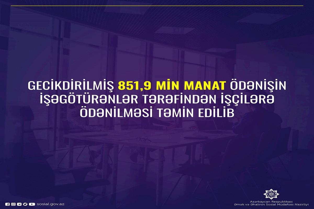 Gecikdirilmiş 851,9 min manatın işçilərə ödənməsi təmin edilib