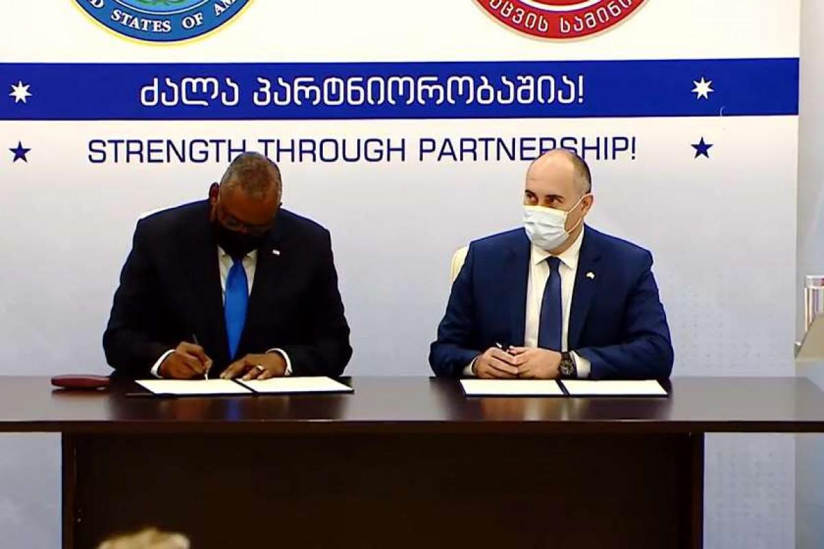 United States Secretary of DefenseLloyd Austin and Georgian Defense Minister Juansher Burchuladze