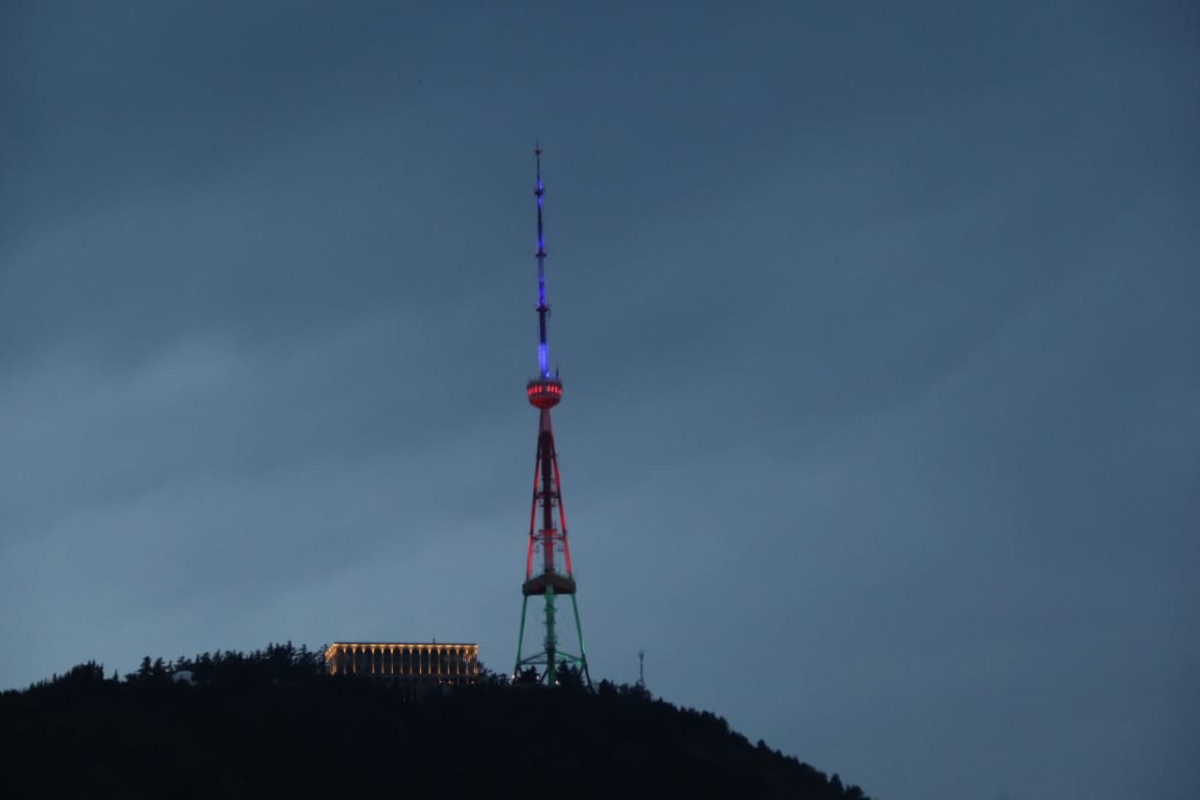 Tbilisi TV tower was illuminated with the colors of the Azerbaijani flag