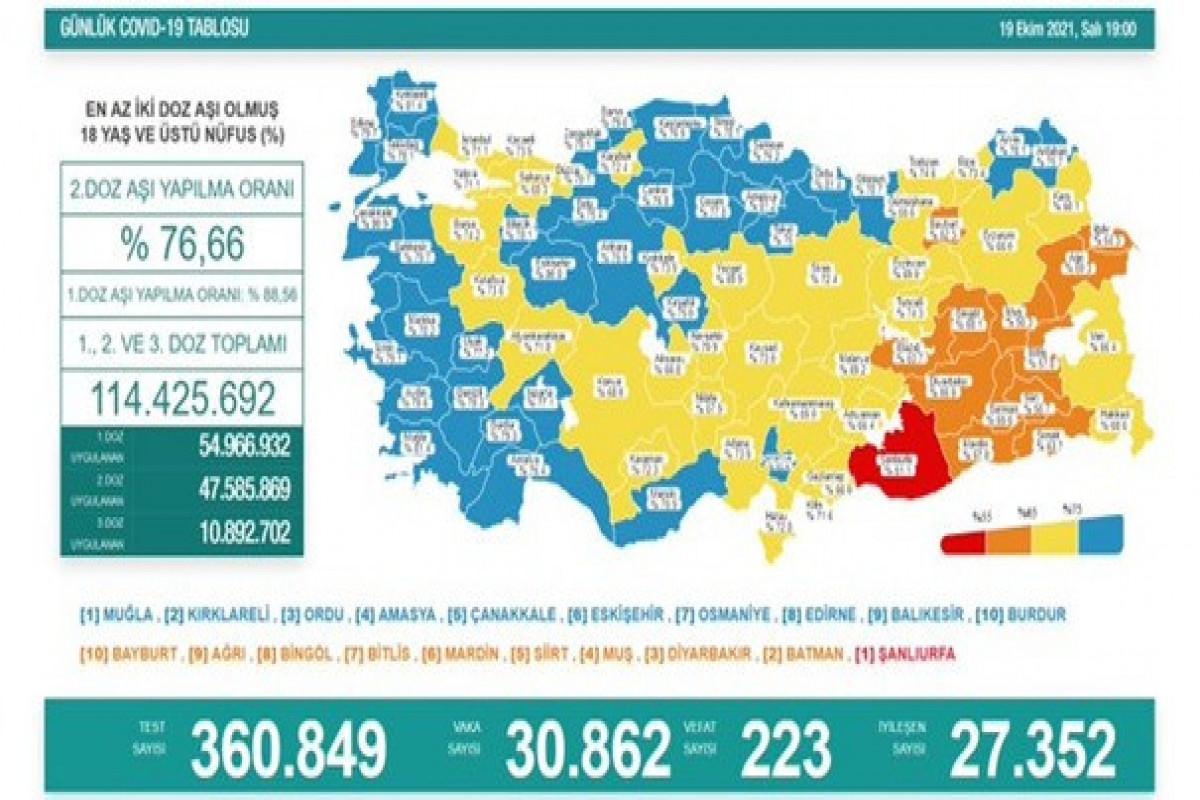 Türkiyədə bu gün koronavirusdan 223 nəfər ölüb