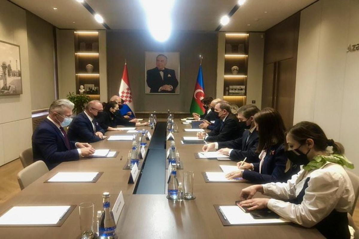 Встреча глав МИД Азербайджана и Хорватии в расширенном составе
