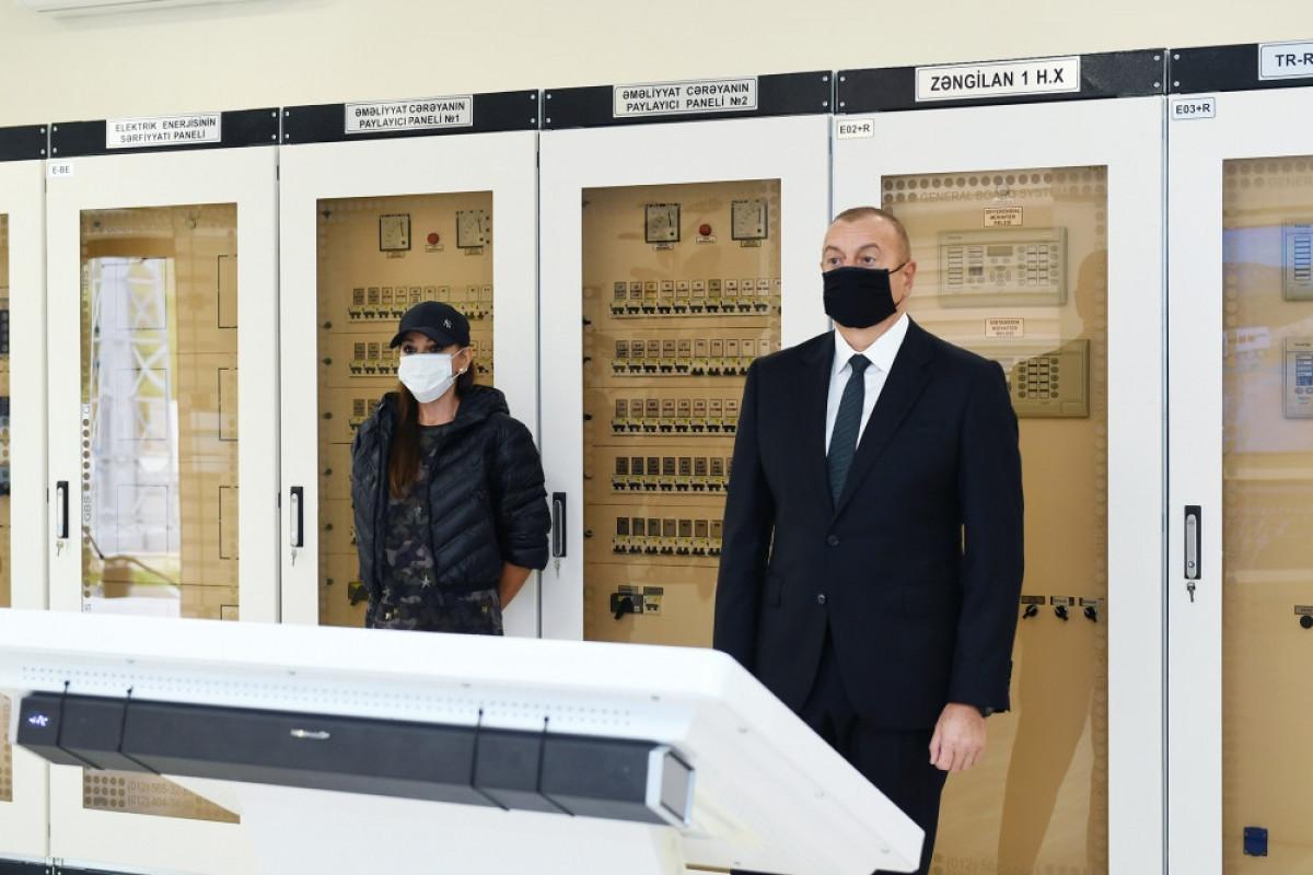 Президент и первая леди приняли участие в открытии подстанции «Зангилан»