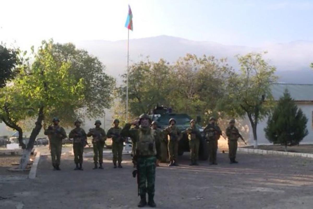 Солдаты азербайджанской армии в освобожденном Агбенде