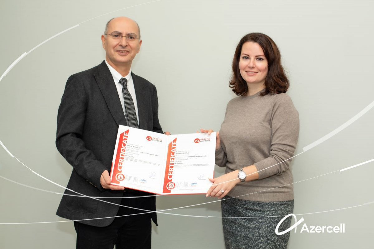 Azercell once again bestowed with ISO 37001:2016 Anti-bribery Management Systems standard of compliance