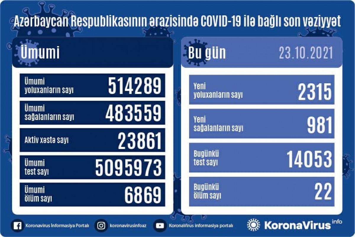 Azərbaycanda son sutkada 2315 nəfər COVID-19-a yoluxub, 22 nəfər ölüb