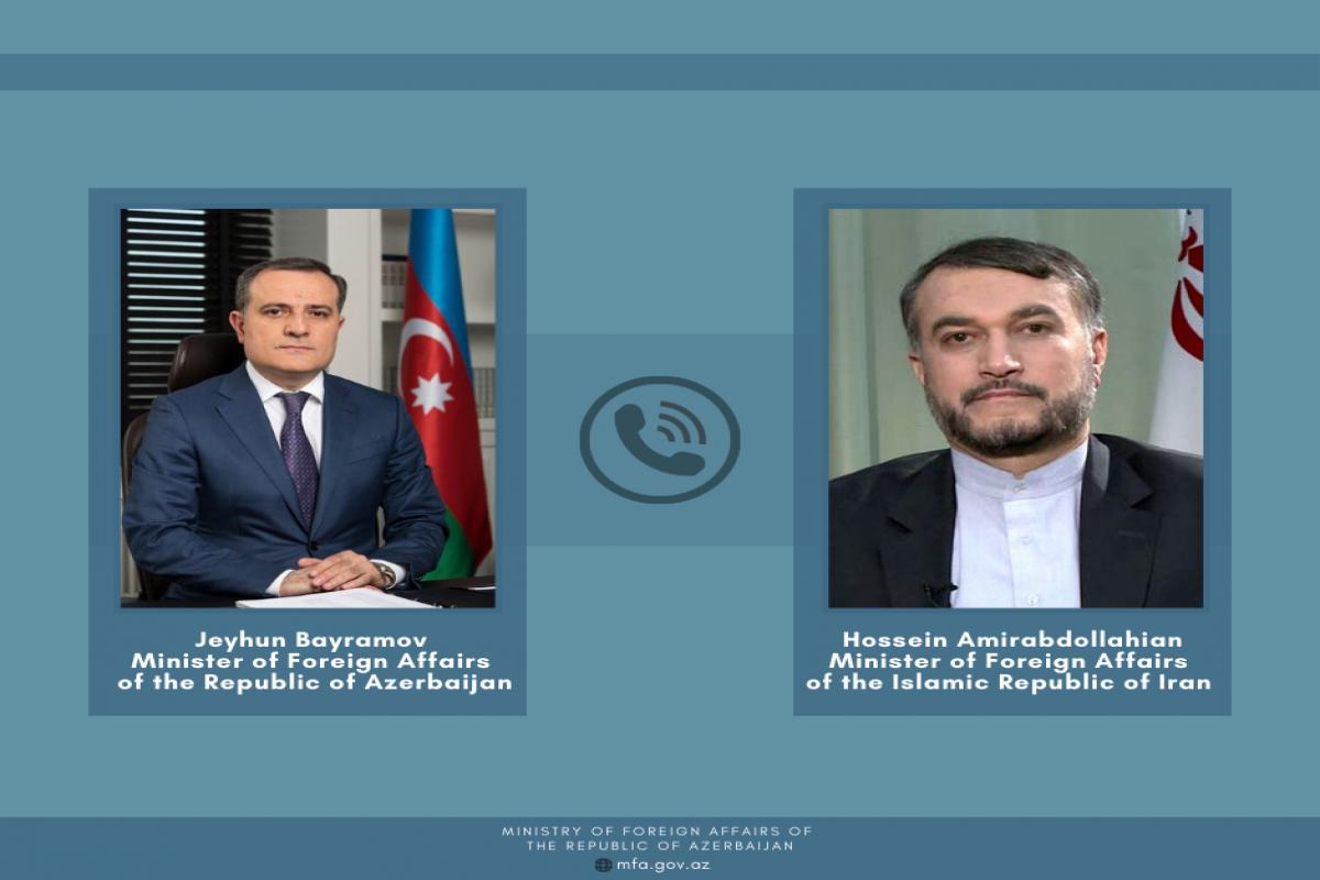 Minister of Foreign Affairs of Azerbaijan Jeyhun Bayramov and Minister of Foreign Affairs of Iran Hossein Amirabdollahian