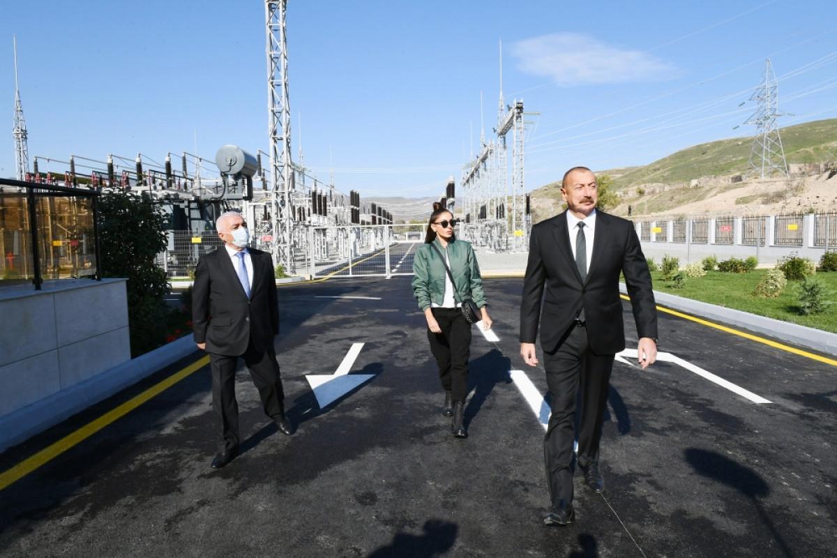 """Prezident və birinci xanım """"Qubadlı"""" yarımstansiyasının açılışında iştirak ediblər"""